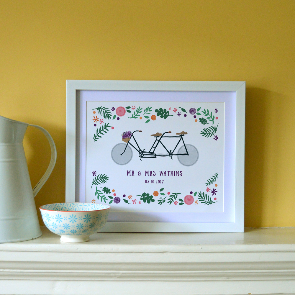'Bike Lovers'  personalised print created by Abi,  click here to see the coordinating wedding stationery