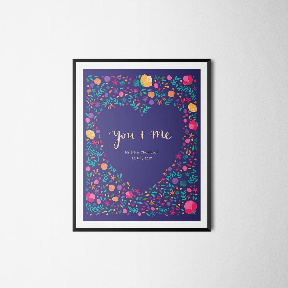 The  'You and me'  personalised print now available on  notonthehighstreet.com