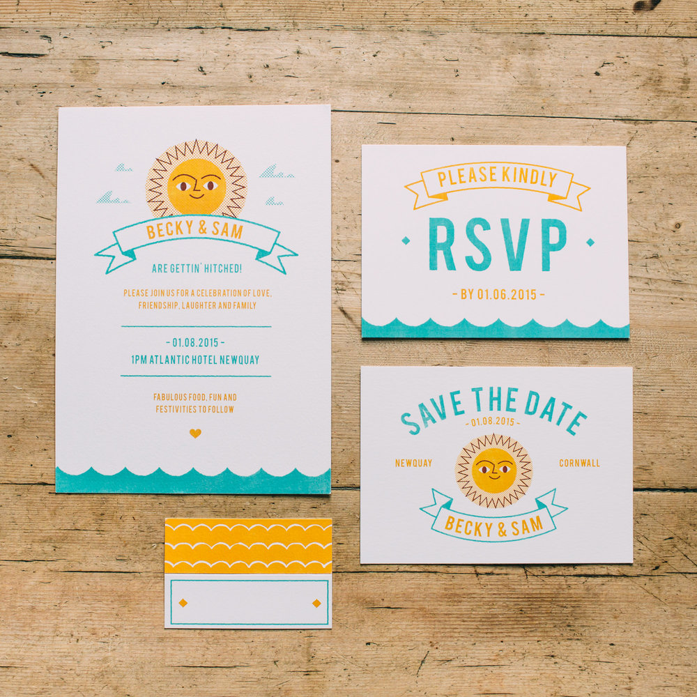 Summer Beach wedding stationery collection available from here  - Photo by  Freckle Photography