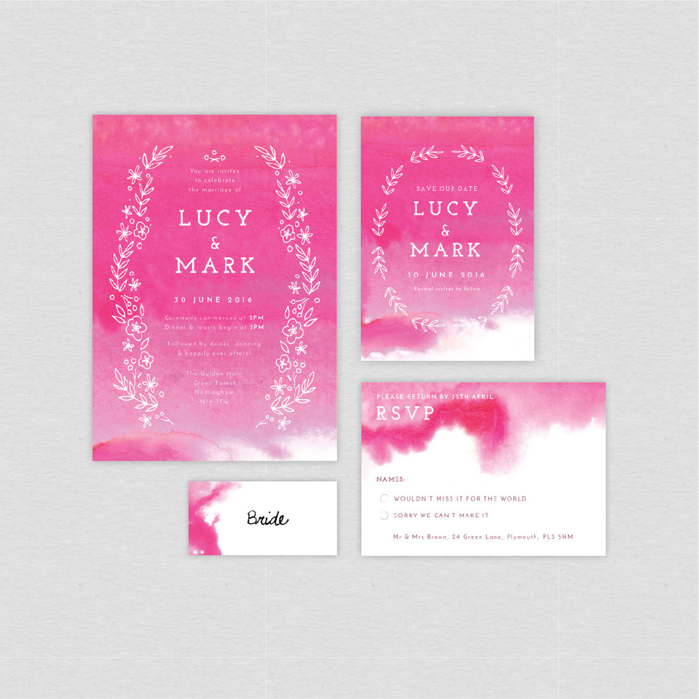 dearly beloved, quartz watercolour painting wash pink luxury wedding invitations