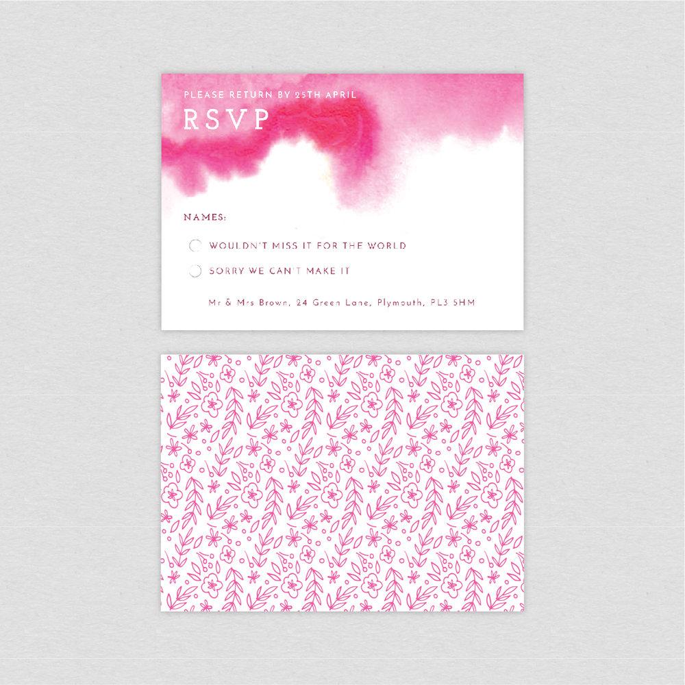 dearly beloved, quartz watercolour painting wash pink luxury wedding RSVP return cards