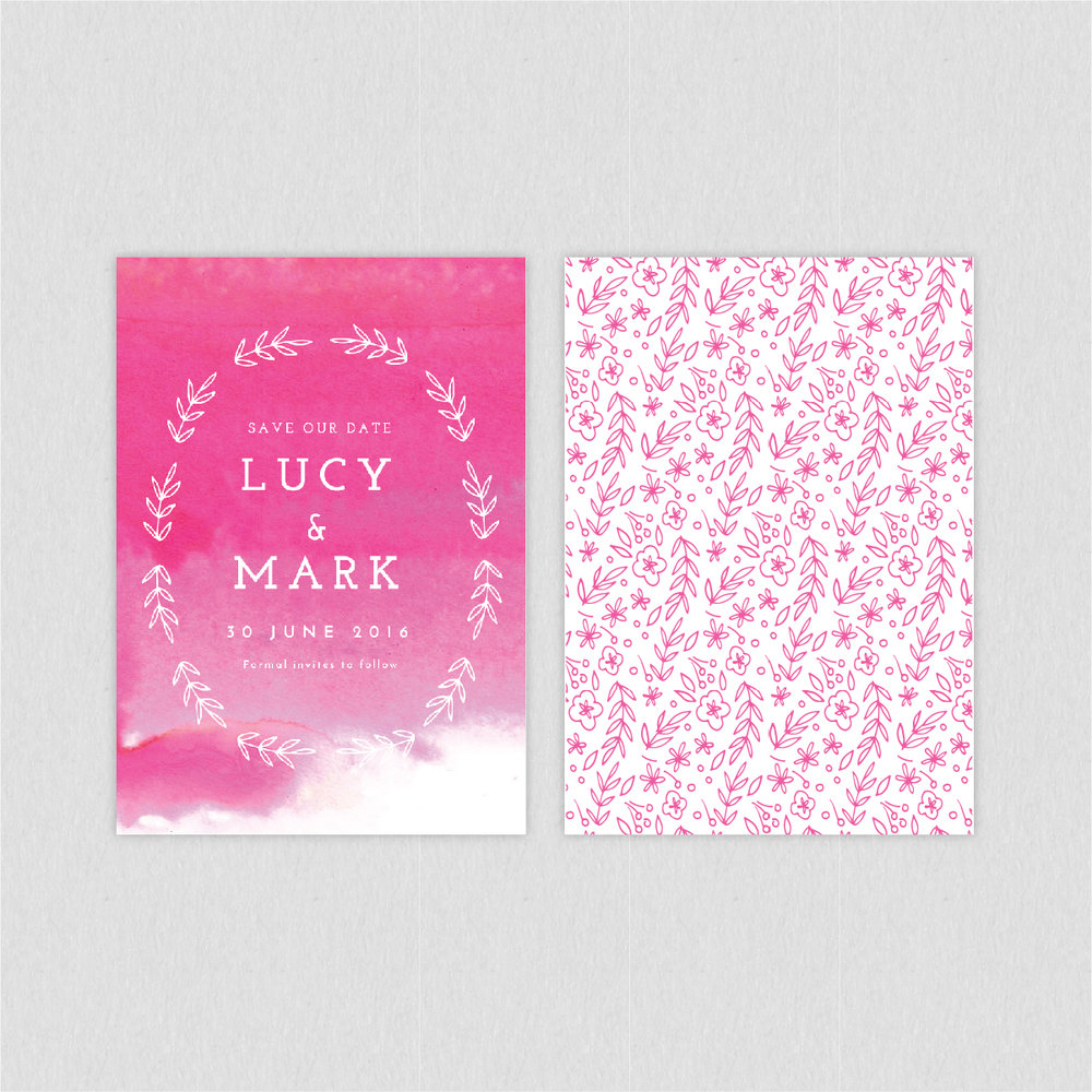 dearly beloved, quartz watercolour painting wash pink luxury wedding save the date cards