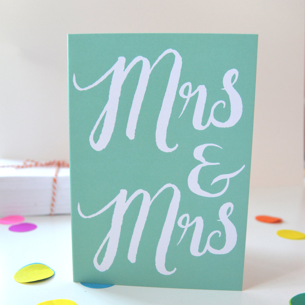 Mrs and Mrs Congratulations card for lesbian wedding celebrations