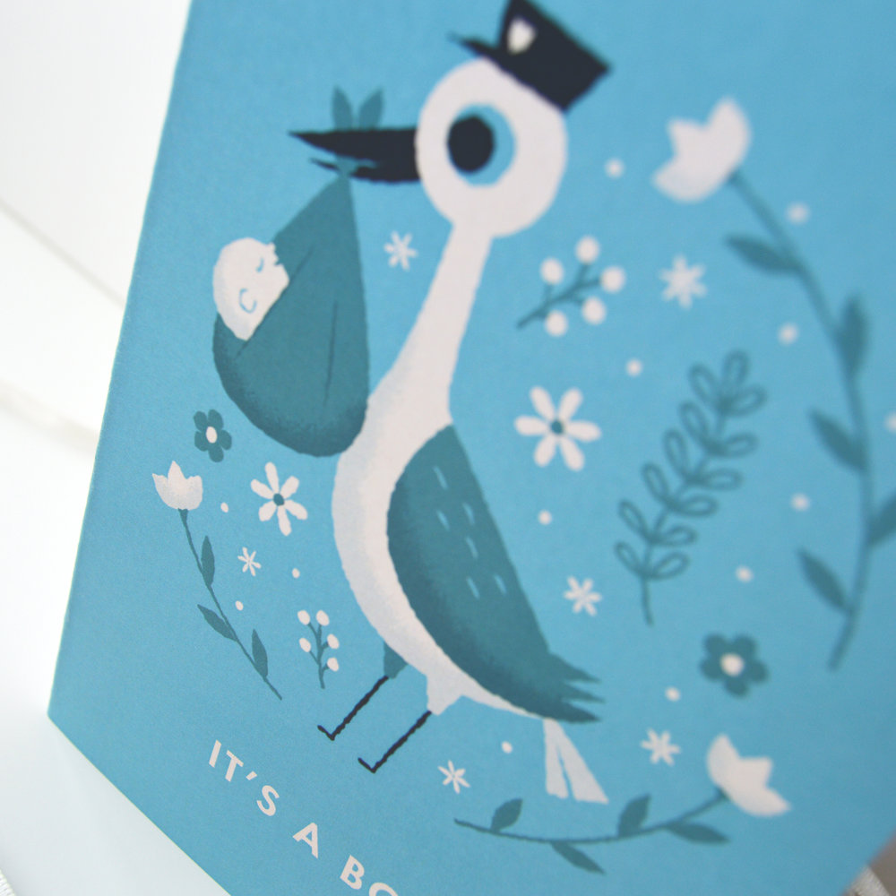'It's A Boy' Illustrated Stork New Baby Card