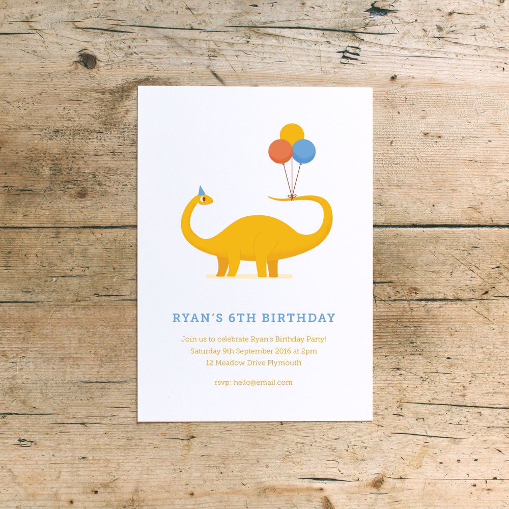 Dinosaur Children's Birthday Party Invitations