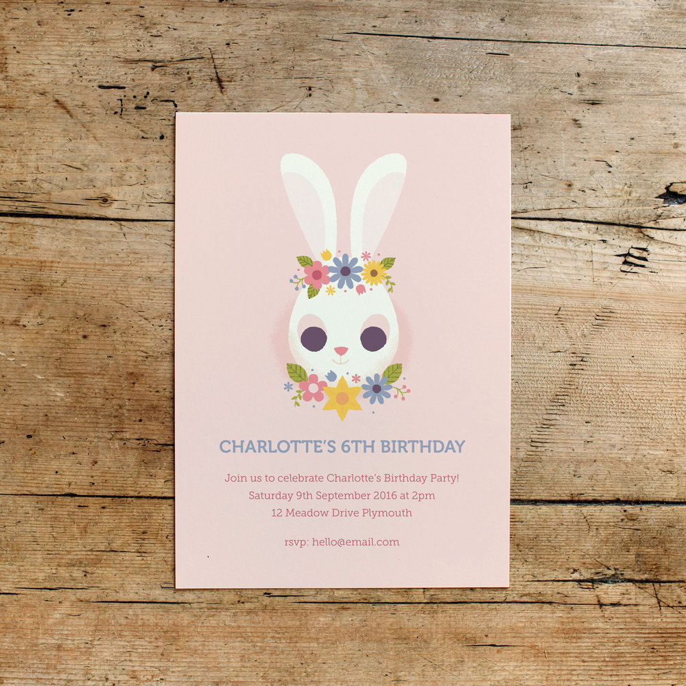 Floral Bunny Children's Birthday Party Invitations
