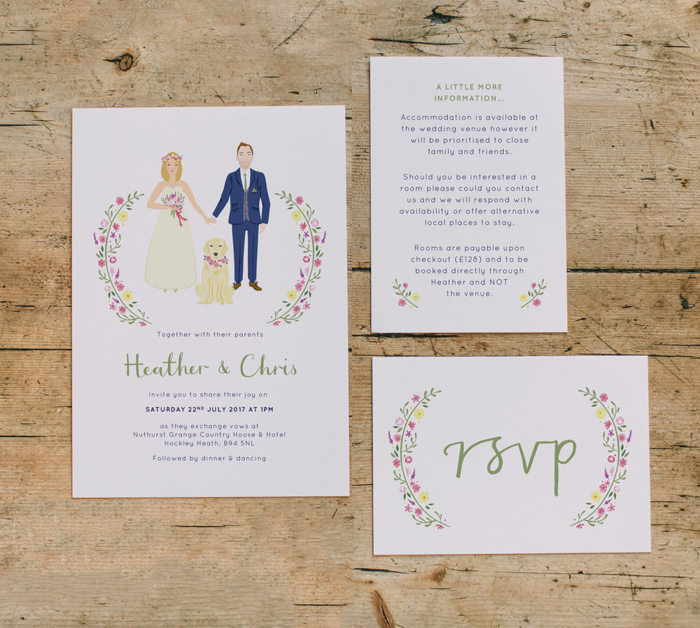 Bespoke wedding stationery for Heather, Chris (...and Iris ...