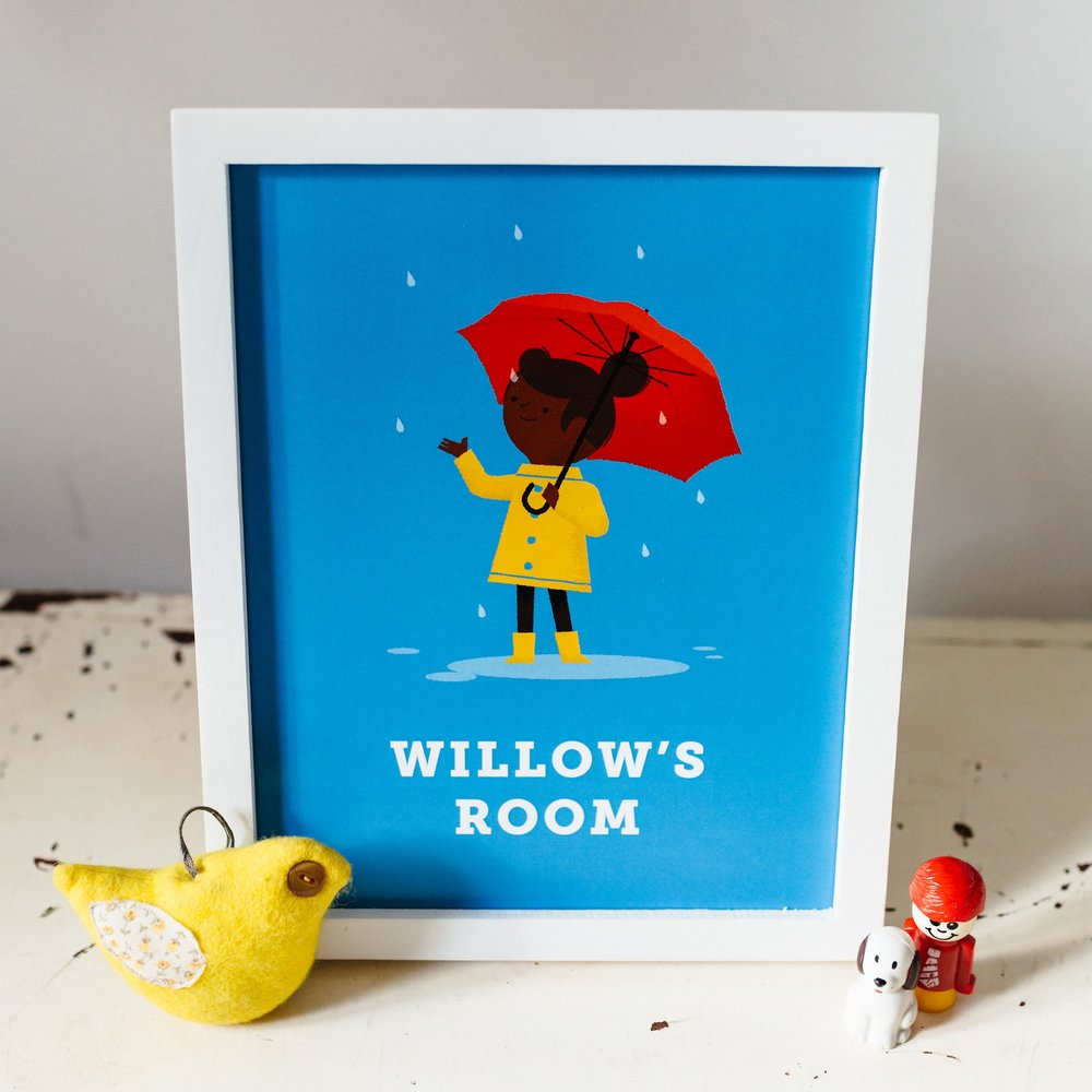 Happy Rainy Days Personalised Children's Room Print  - £35, unframed, sized 8 x 10 inches