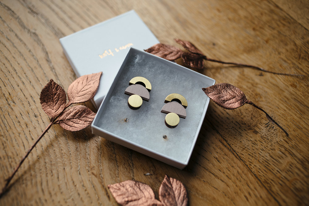 Abi wore earrings by East London designer  Wolf & Moon