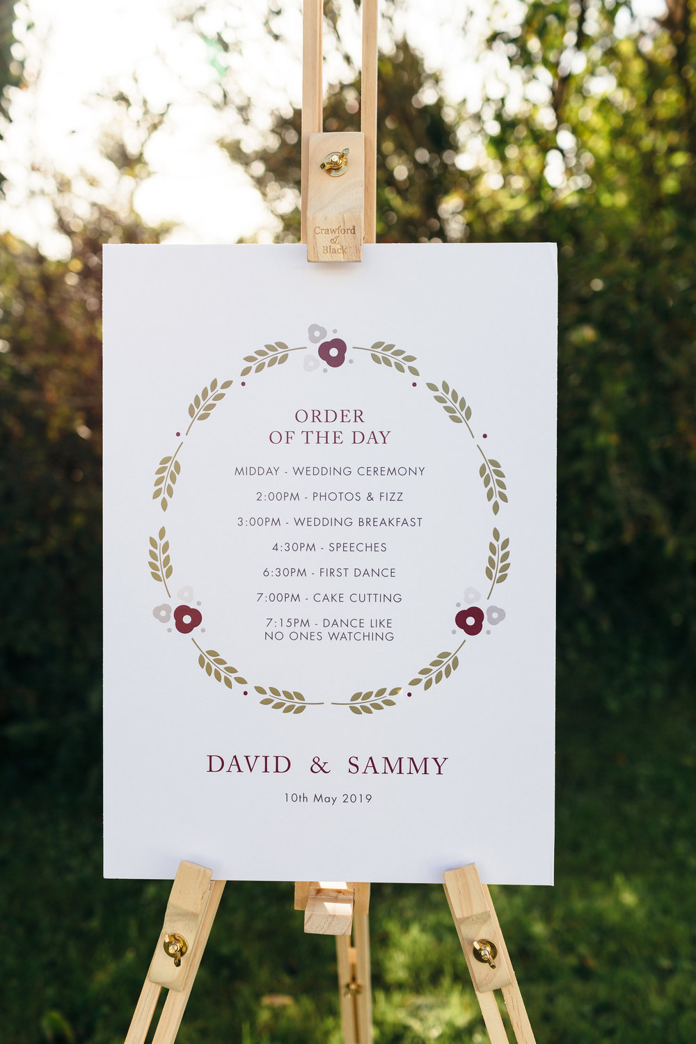 Personalised Order Of The Day Wedding Sign available on  notonthehighstreet.com