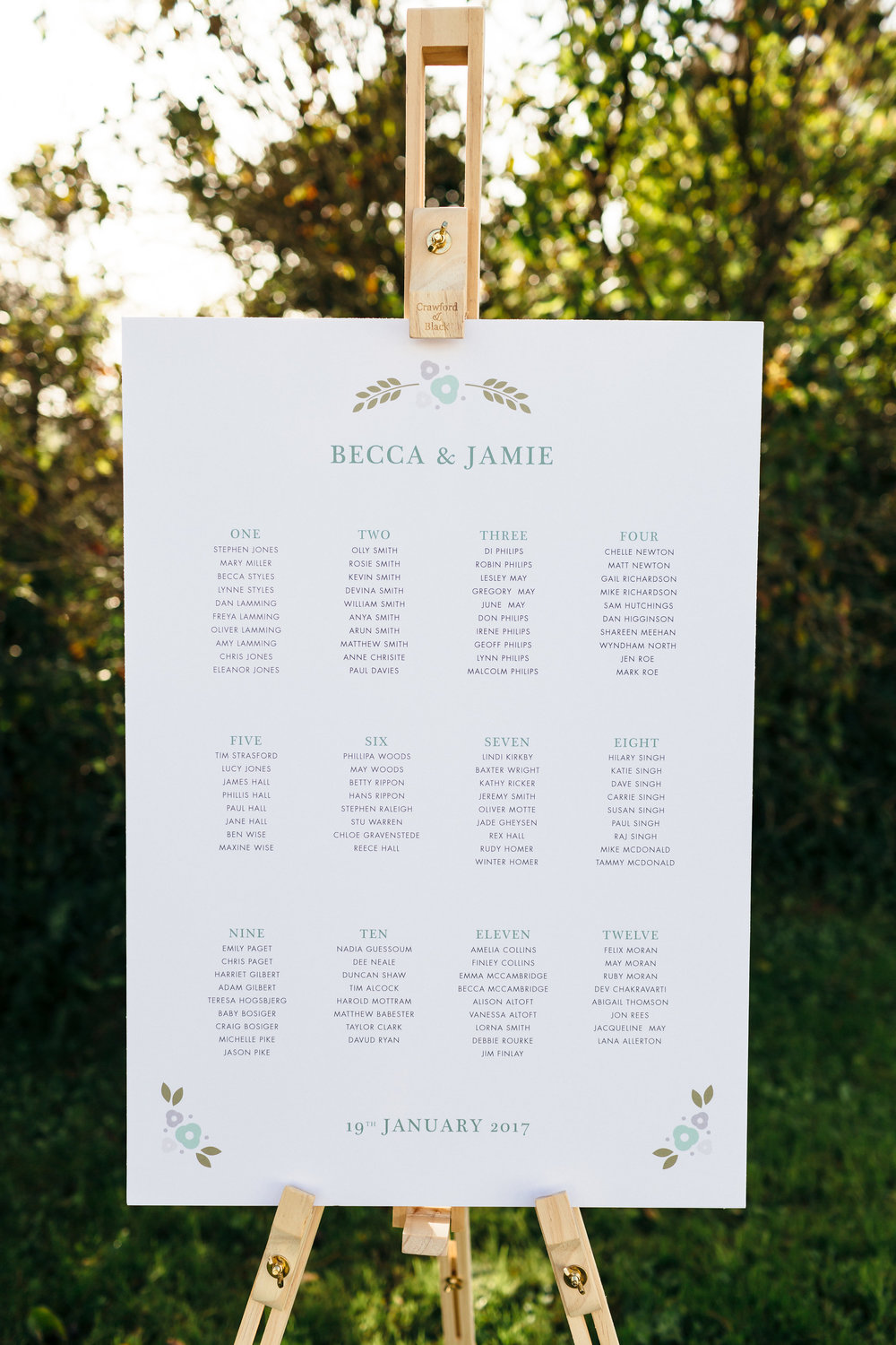 Graphic Floral Wedding Table Plan available on  notonthehighstreet.com