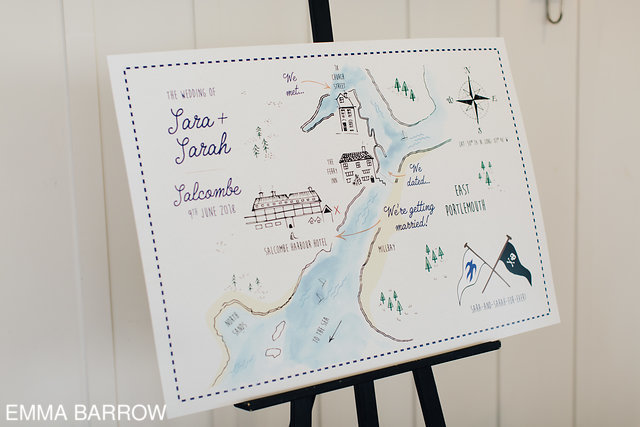 Sara & Sarah loved how their pirate map style wedding invites turned out so much they decided to get a large format version printed up as a decorative sign
