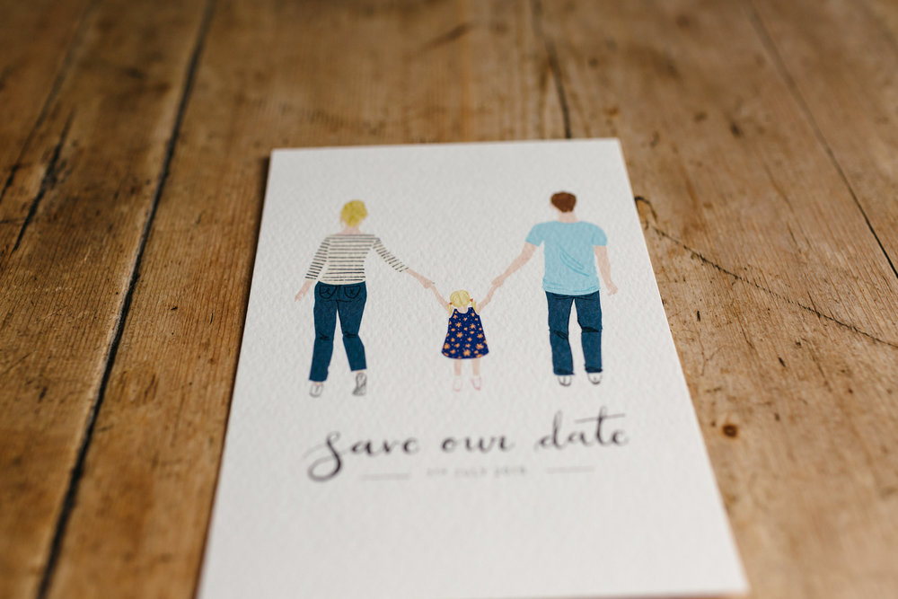 Family portrait Save the Date card, photograph by  Freckle Photography