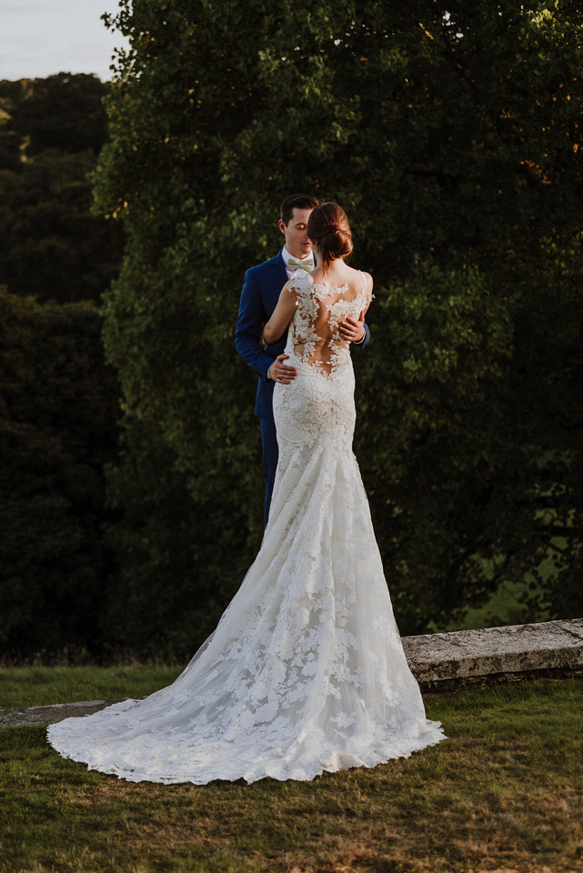 Bethan's stunning lace gown is by  Pronovias  and purchased at  Kuntsford Wedding Gallery .