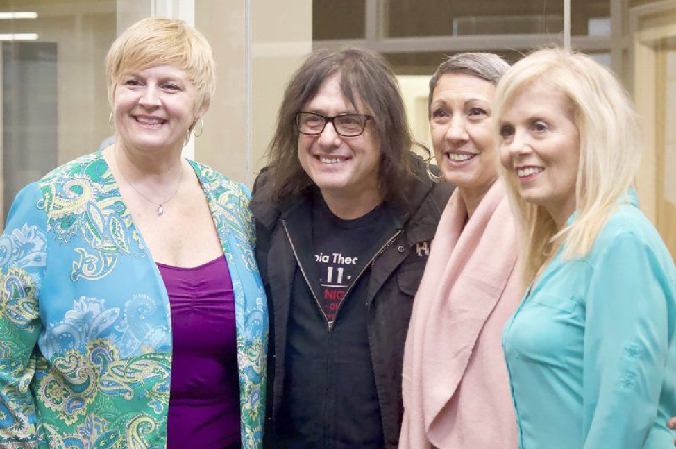 From left are Sheila Connors, music therapist working with Nurse 'n Blues, Music is Art founder and Goo Goo Dolls member Robby Takac, WNY Blues Society Board President Adrienne Thompson and Nurse 'n Blues Founder Patti Parks.
