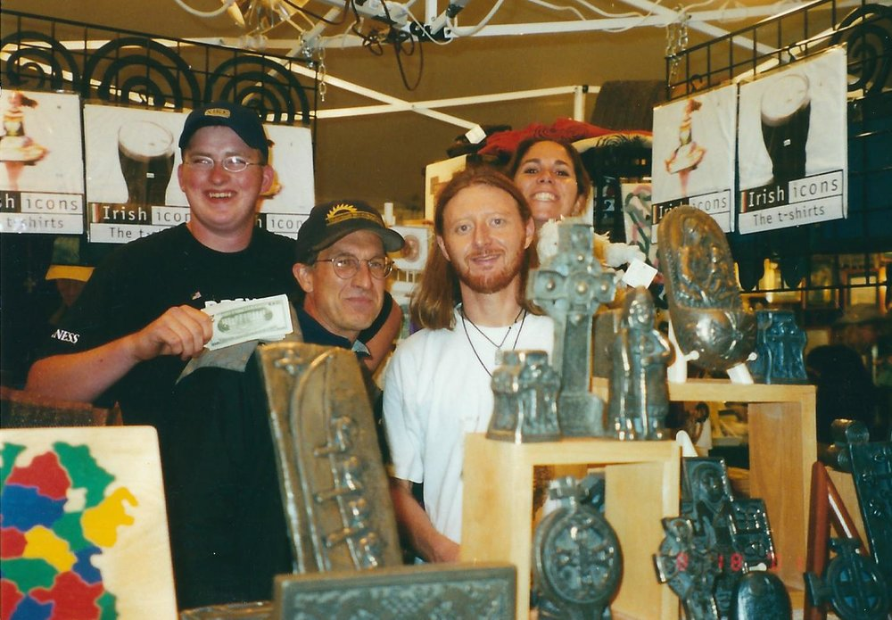 Our first time at the Milwaukee Irish Festival in 2000, the largest of its kind in the world. This will be our 18th consecutive year participating! (L to R: Bryan Gallagher-cousin, Tom Kenny-friend, Me, Meredith)