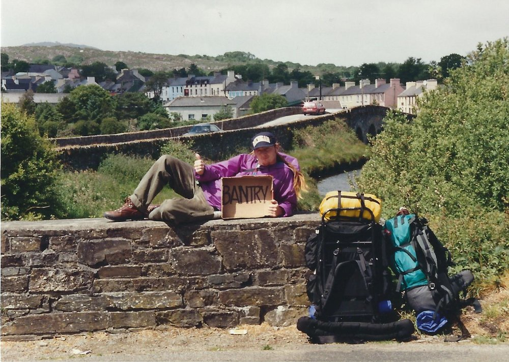 Hitching a ride near Ballydehob, West Cork, June 1991. Meredith and I backpacked around Ireland, Scotland, and northern England before returning to Wales.