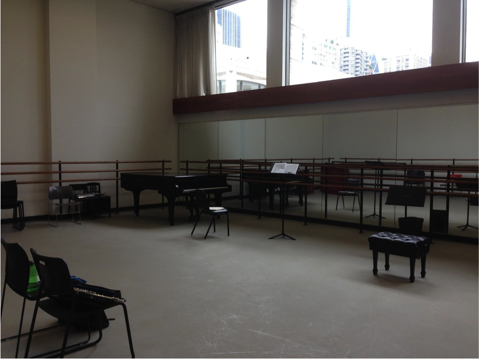 This is my favorite practice room, you can see the top of Avery Fisher Hall out the window.