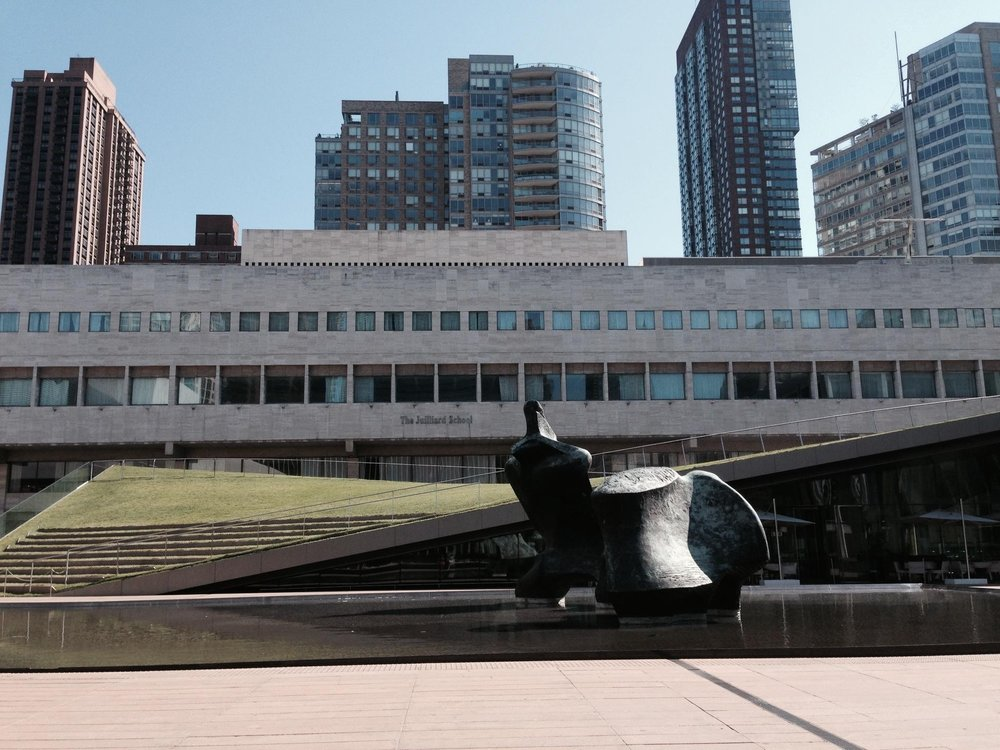 A view of The Juilliard School building from Lincoln Center.