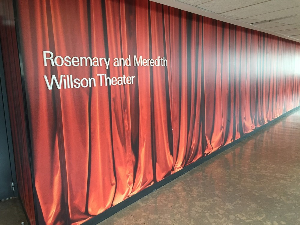 The Wilson Theater – a black box theater – on the third floor right by the dance studios. I love sitting here during lunch, and admiring the wall, since the entire works of Shakespeare are written on it!
