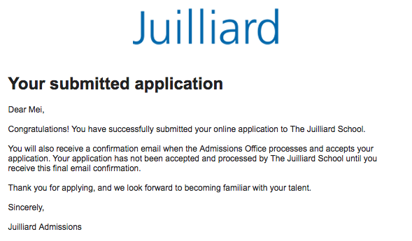 juilliard application essay