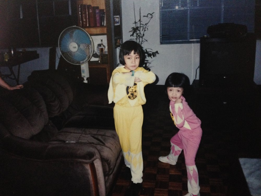 Me (as the Yellow Ranger) and my sister (the Pink Ranger).