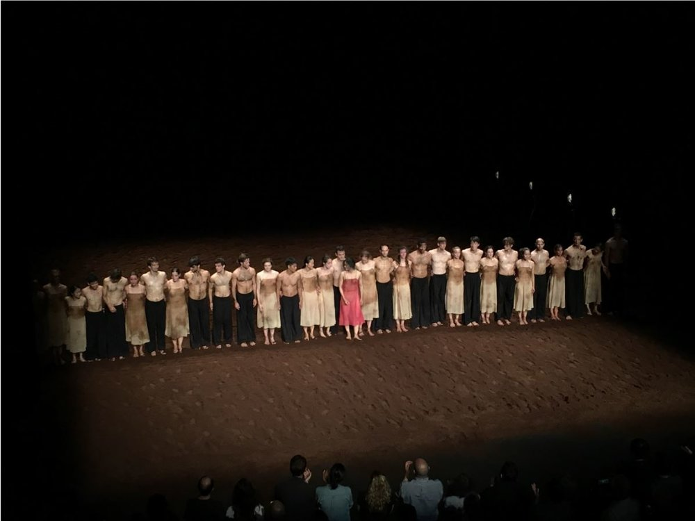 """Members of Tanztheater Wuppertal take a bow after """"Sacre du Printemps."""""""