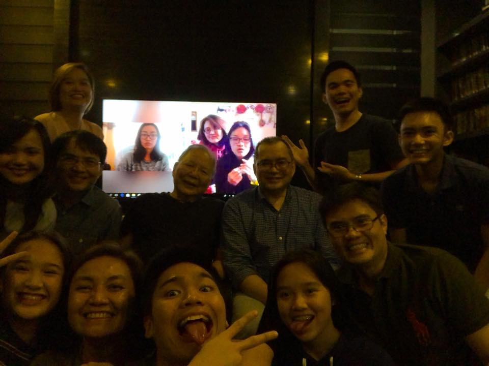Picture: Regina and her sister skyping with family in Manila