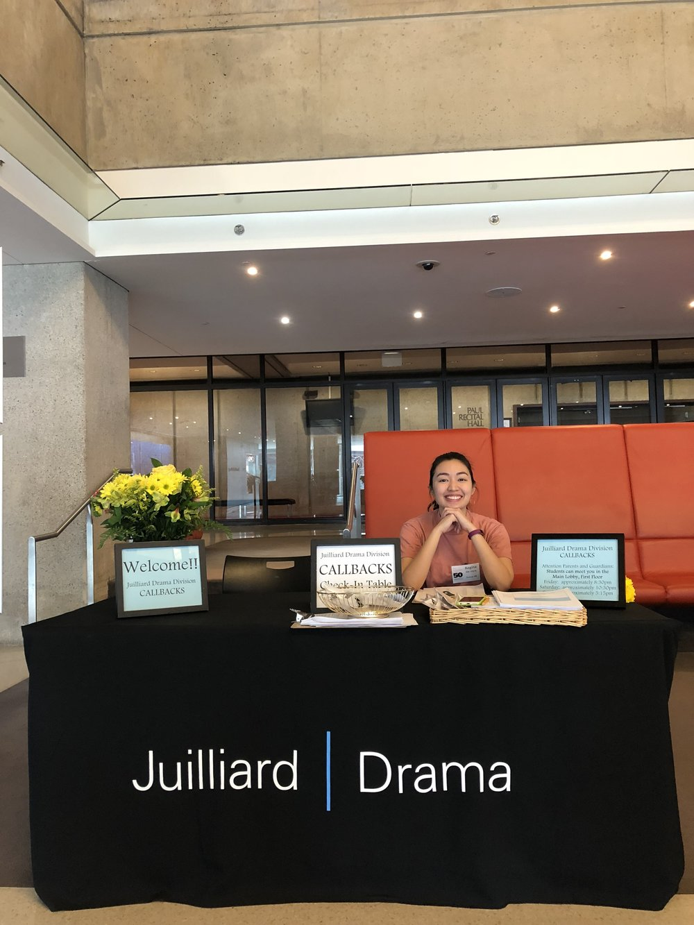Regina at the check-in desk for this year's Juilliard Drama final callback weekend