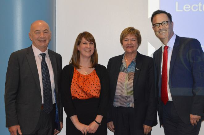 Left to right: Laurie Russell (CEO Wise Group), Gill Murray (CommonHealth Researcher), Pamela Gillies (Vice-Chancellor, GCU), Cam Donaldson (Yunus Chair in Social Business and Health, GCU)