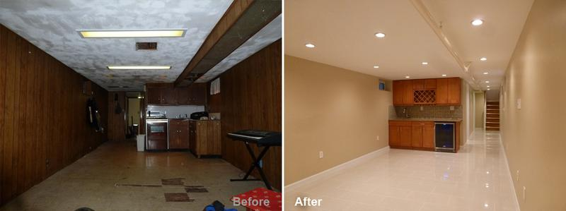"""Review by: Sal L. in Brooklyn, NY      Rating: ★★★★★ 5.00 Project: Remodel a Basement        Start to Completion: 5 Weeks Comments:""""We are very happy we chose Kevin Parker and Beyond Designs & Remodeling for doing a fantastic Remodel to our Basement. The basement required a complete renovation which included a complete gut out, electrical and plumbing, level cement floor, repair to foundation walls, new wet bar, new bathroom, laundry room, windows and more. If I had any questions Kevin was only a phone call away. Their foreman Lee and his crew were very knowledgeable and the work performed was superb. I recommend Beyond Designs & Remodeling to anyone who wants peace of mind and a job well done."""""""