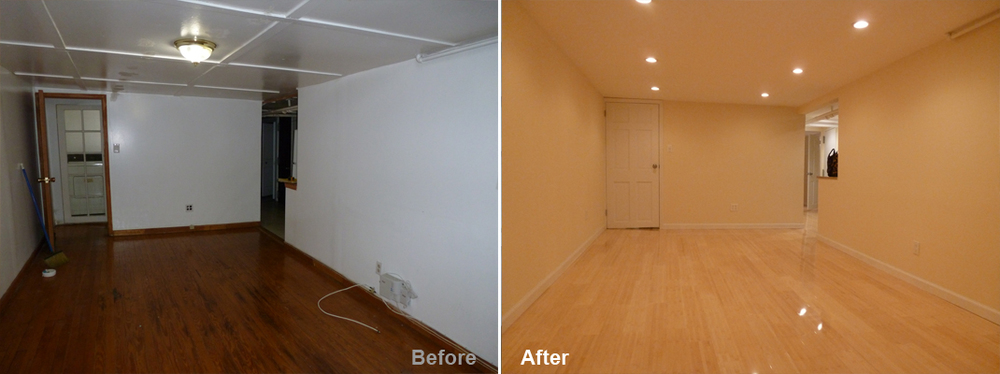 """Review by Monica B. in Brooklyn, NY       Rating: ★★★★★ 5.00 Project: Remodel a Basement        Start to Completion: 4 Weeks Comments:""""I say thank you to Kevin for his understanding of what my needs were for my basement. I'm very impressed with the out come; it's a comfortable space that is bright and cozy. Kevin and his team have done a fabulous job. I would recommend him to anyone as well as use him again. Thanks Kevin!"""""""