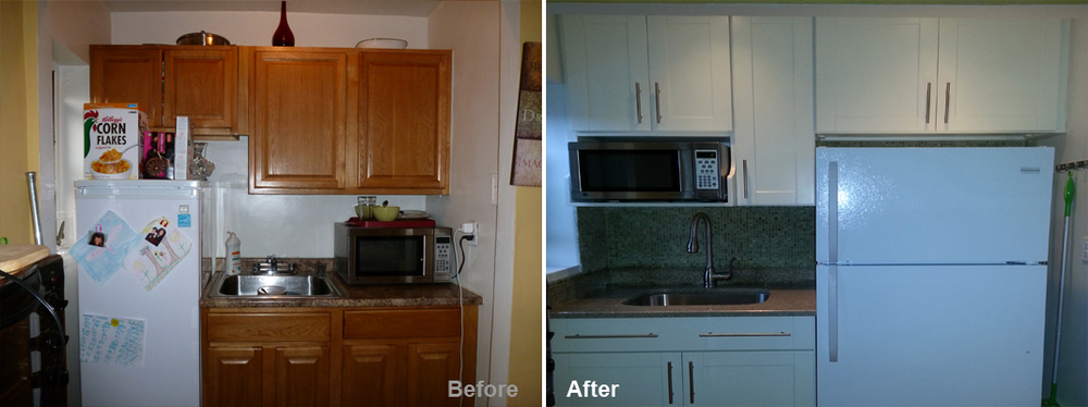 """Review by: Michele R. in Jamaica, NY         Rating: ★★★★ 4.33 Project: Remodel a Kitchen            Start to Completion: 3 Days omments:""""Great customer service is what's missing in many industries but Kevin knows how to make his customers happy. I have a kitchenette only 74 inches wide and 3 feet deep but wanted to beautify it and keep it functional. Kevin helped me to achieve the look I desired. The workers need to be more conscientious of surrounding areas while working but despite that, they worked hard to complete their work within 3 days with no problems. I'm quite content with my decision to go with Beyond Design and Remodeling and I think you will be too! """""""