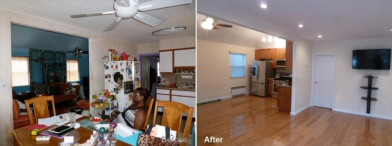 """Review by: Pamela F. in Laurelton, NYRating: ★★★★★ 5.00 Project: Remodel a ApartmentStart to Completion: 3 Weeks Comments:""""Thank you to the work crew who expertly and professionally crafted a brand new Great room for my family and I to enjoy for years to come. Moreover thank you, Kevin Parker (KP) for seeing something that I could not see until the evening I came home and there was the beginnings of a kitchen in my former living room. That evening blew my mind and brought me to tears of JOY! The demolition and reconstruction were done in exactly three weeks and one day. Two weeks short of the five weeks anticipated. All of the materials used were of high quality and expertly installed. I LOVE My Bamboo Floors!!!! So shiny! My new bathroom is modern, serene and a joy to use. The work crew nicknamed the """"NINJAS"""" by my daughter always made significant progress and we could always look forward to seeing what had been accomplished that day. All in all it was a pleasant experience and I am delighted with the results. I appreciate the immediate attention to all my concerns. When I do more remodeling to my home I will call Beyond Designs only, because of the experience I have had. With much appreciation!"""""""