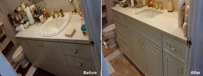 "Review by Lorna E. in Elmont, NY                  Rating: ★★★★★ 5.00 Project: Remodel a Bathroom                      Start to Completion: 1 Days Comments: ""I would like to express my sincere ' thank you ' for the beautiful vanity and sink you designed and installed in my bathroom, after removing the old one. I must also let you know how very pleased I am. Although it was not a large project, you did a wonderful job in a very short time. Now I spend more time in the bathroom just admiring the gorgeous vanity. It really exceeded my expectation. I would not hesitate to call on you again or to recommend you to anyone. Thanks again for a job well done."""