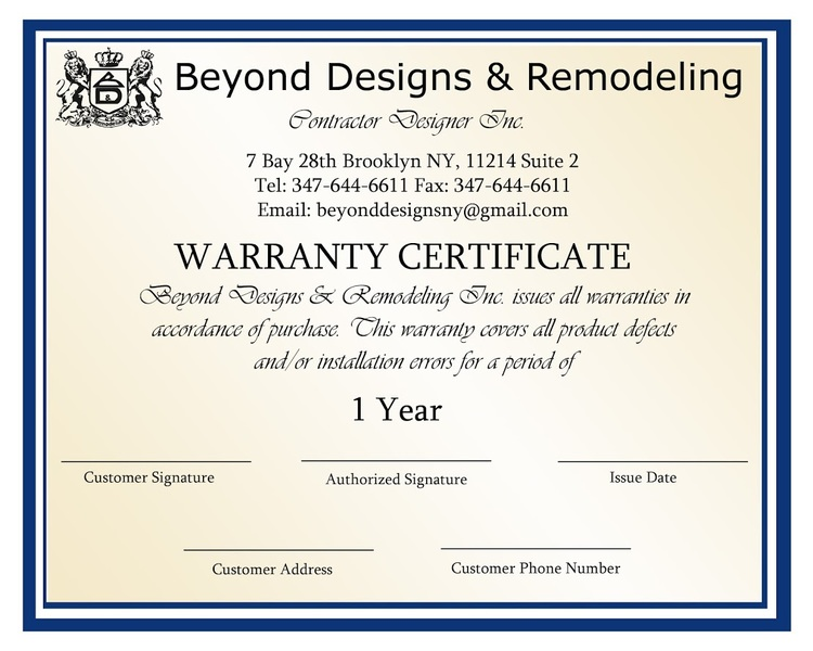 Kitchen bathroom remodiling warranty brooklyn ny beyond designs our warranty certificate yadclub Image collections