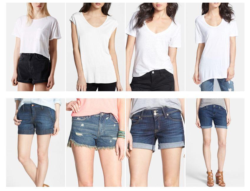 Keaton Row Look Book White Tee Denim Shorts