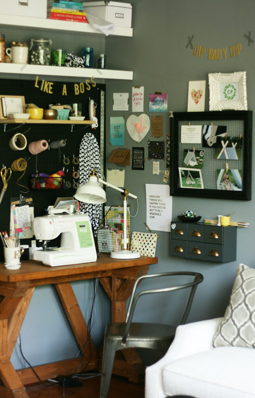 So much goodness and inspiration crammed into a small space - including the custom desk made by my talented hubby