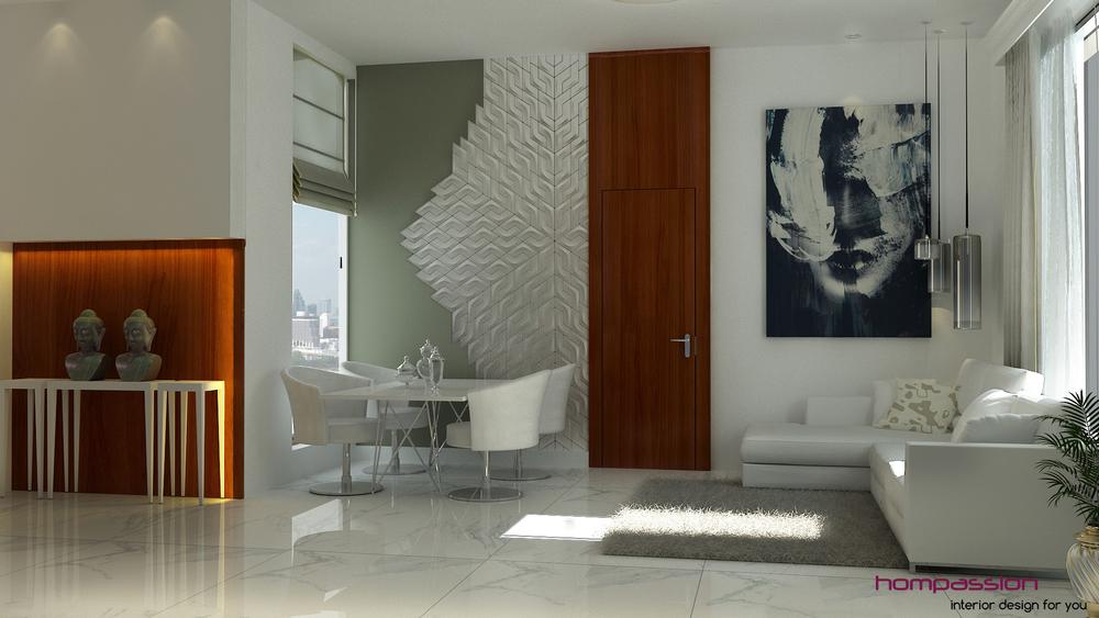 Contemporary Living Room Design Mumbai Apartment Hompassion