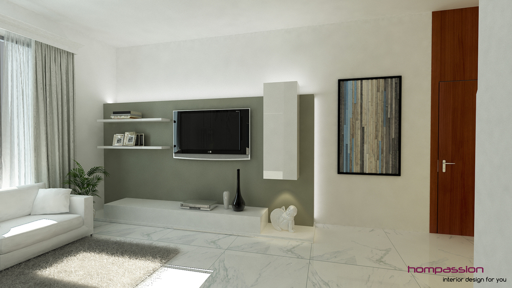 Contemporary Living Room Design, Mumbai apartment — Hompassion