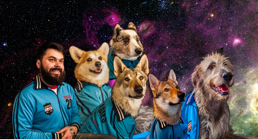 "The Space Cadets  (from left to right): Marius Geykman (Human), ""Kit"" Kitsune (Pembroke Welsh Corgi), ""Cleo"" Cleopatra Juno Sterling (Cardigan Welsh Corgi), ""Rōnin"" Drake Darkstar Amant Gris (Czechoslovakian Vlcak), ""Harley Quinn"" Borrasca Gaditana de la Manada de Tuky (Czechoslovakian Vlcak) & ""Sirius"" The Best Dog In The World (Irish Wolfhound)"