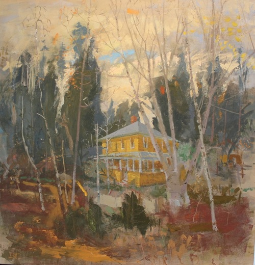 Yellow House Great Cranberry Isle Maine. 40 x 42 ins. SOLD