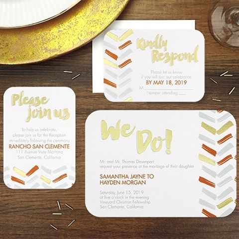 We Do love this #trendy #herringbone pattern #wedding #invitation with a splash of #gold! http://empresspapercrafts.carlsoncraft.com/3254-TWS39840-Modern-We-Do--Invitation.pro