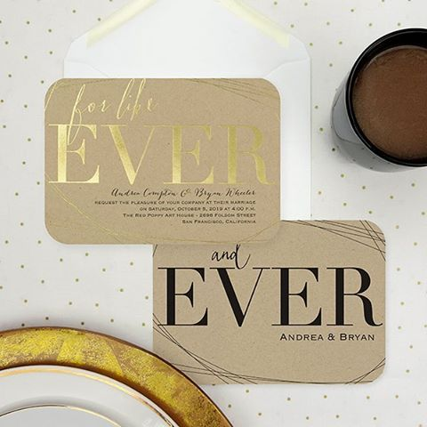 This #modern #typography #invitation with a touch of #gold is perfect for today's #trendy couple! http://empresspapercrafts.carlsoncraft.com/3254-TWS38801-For-Like-Ever--Invitation.pro