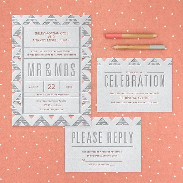 Add some #fun and #style to your #wedding with this #geometric pattern #letterpress #invitation! http://empresspapercrafts.carlsoncraft.com/Wedding/Wedding-Invitations/3254-TWS40375-Deco-Geometric--Invitation.pro