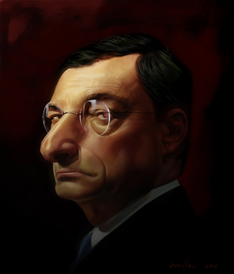 Mario Draghi caricature
