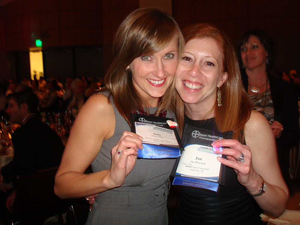 Celebrating a Sales Rep of the Year award with my good friend and co-worker,  Jan Brackett in California. - Circa 2009