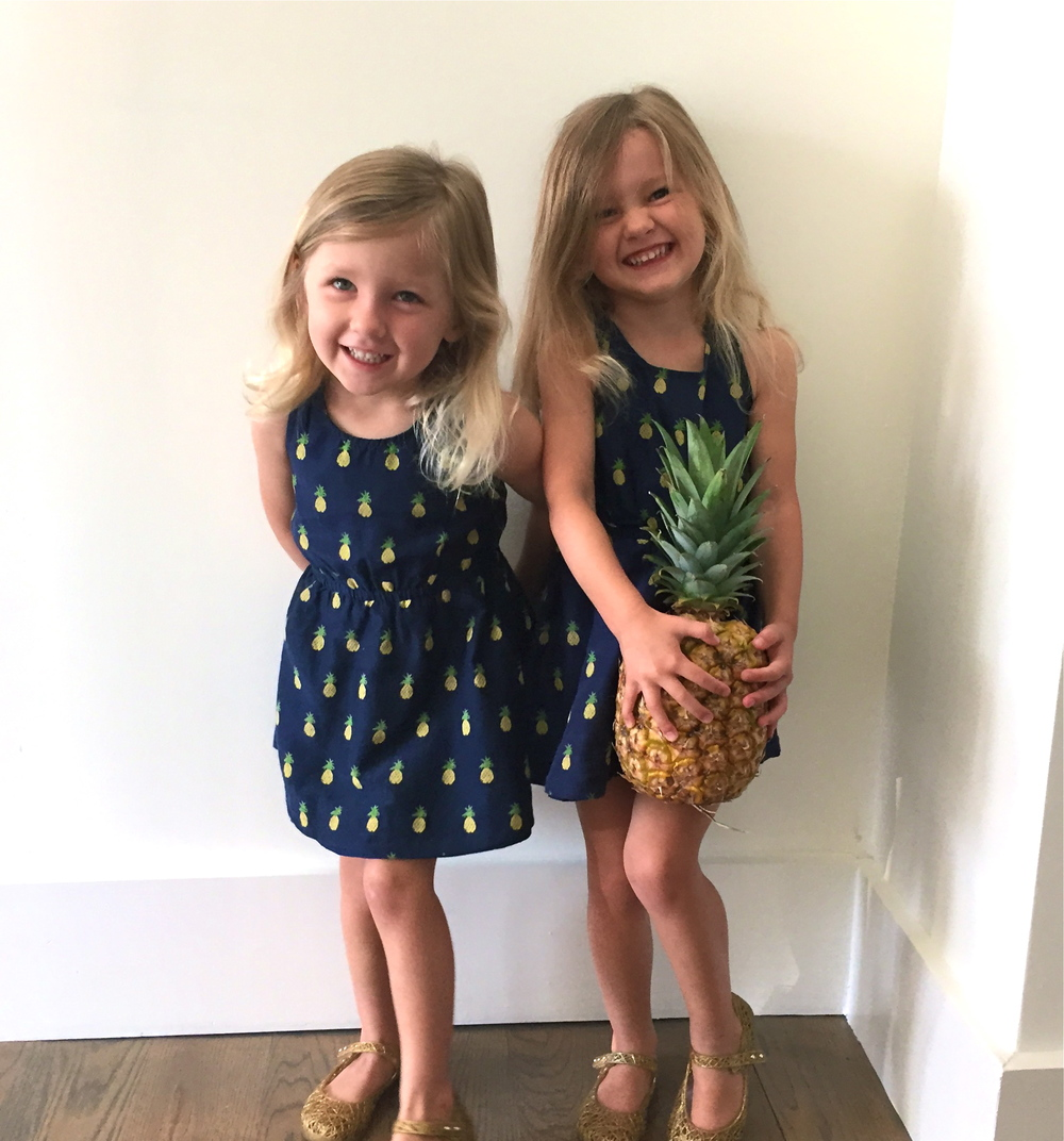 Riley (left) and Cooper (right) welcoming everyone to mommy's blog with a real pineapple.  Wearing Crewcuts dresses and Mini Melissa + Campana jellies (remember these?)