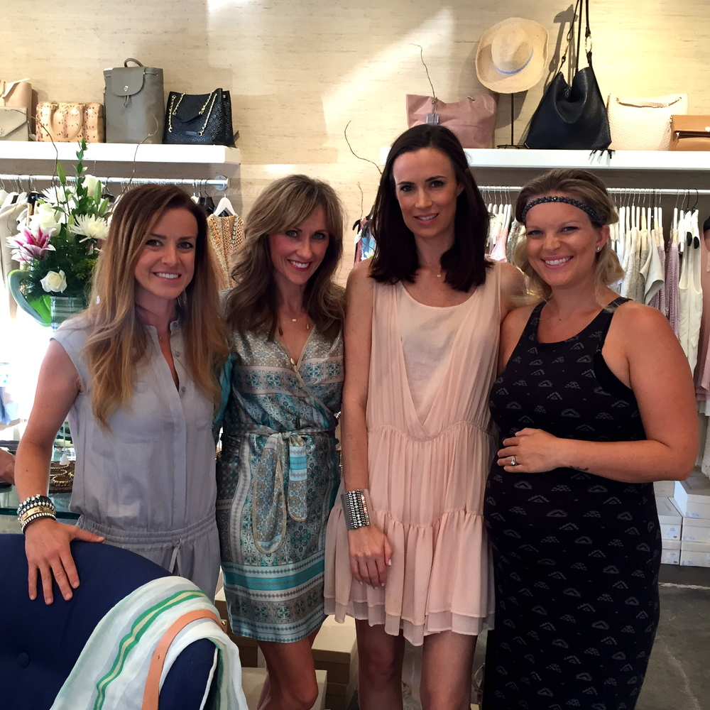 (L to R) Shelly Brown (wearing her own cuff bracelets), me (wearing Lolita Jaca Wrap dress), Celia Tucker (co-owner of Willow, rocking a Shelly Brown cuff & Chloe dress), Michaelanne Lauderdale (expecting her first sweet baby and rocking an awesome headband)