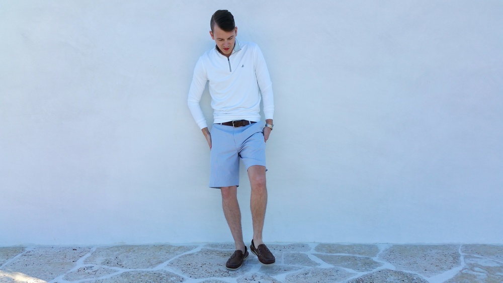 Adam is wearing Alys Beach logo popover & shorts - both by Peter Millar